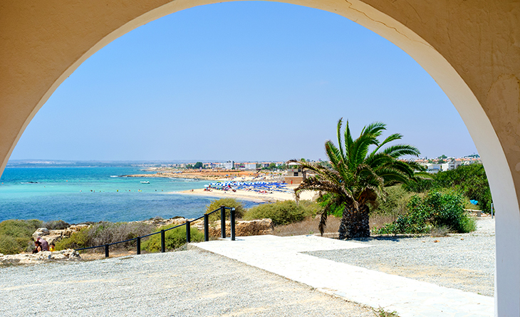 The view on the Ayia Thekla beach from the terrace of the church located next to the coastline Sotira Cyprus.
