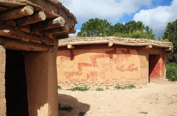 Reconstruction of houses of the Chalcolithic Period (Bronze Age) 3500BC at Lempa Experimental Village, Cyprus