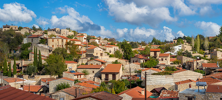Panoramic view of Lofou Cyprus. Limassol District