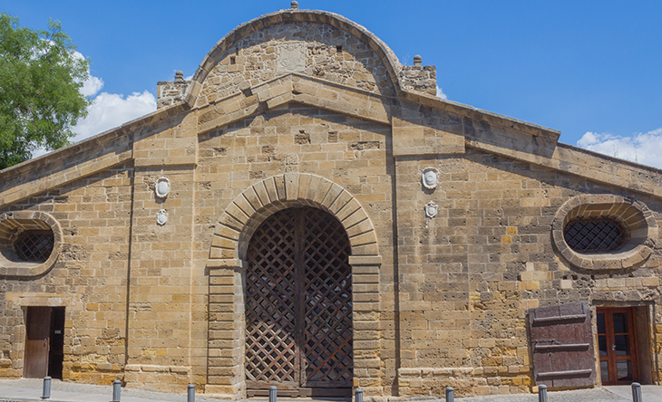 Famous historical building landmark of Famagusta Gate in the city of Nicosia in Cyprus. The gate is used to be the most important gate of the city within the Venetian wall that protected Nicosia.