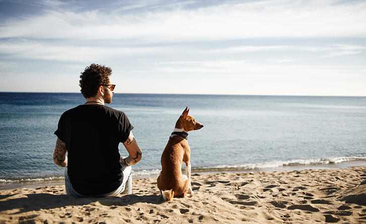 Man and dog at beach